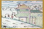 美丽的村庄儿童水彩画