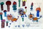 狮子的一家儿童水彩画