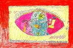 妈妈的眼睛儿童水彩画