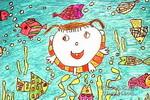 我和小鱼比游泳儿童画作品欣赏