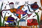 漂亮的鱼儿童水彩画