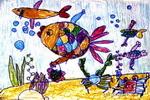 悠闲的购物鱼儿童画作品欣赏