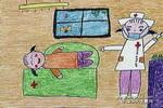 我打针不痛儿童画作品欣赏