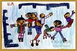 滑旱冰,真快乐儿童画