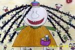 巨人与小孩儿童水彩画