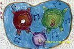 快乐小猪儿童水彩画