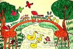我们来搭桥儿童画作品欣赏