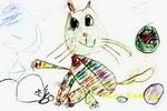 馋嘴的老鼠儿童水彩画