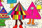 雨中儿童水彩画