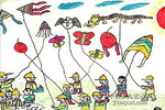 放风筝比赛儿童水彩画