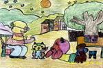 讲故事儿童水彩画