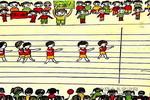 中国队,加油儿童水彩画