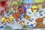 鸡妈妈和它的孩子们儿童水彩画