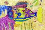 鱼的装饰儿童水彩画