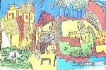 热闹的山村儿童画