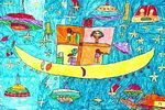 太空学校儿童画2幅