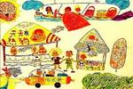 热狗城市儿童画作品欣赏