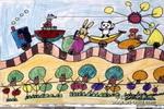 小火车儿童画作品欣赏