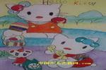 可爱的小猫咪儿童水彩画