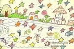 家乡的星星河儿童画图片