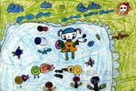 我和动物儿童画