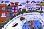 美丽的城市儿童画5幅