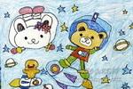 小熊飞上天儿童画