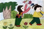 捕蝴蝶儿童画