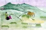草原风景儿童水彩画