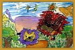母子俩儿童画3幅