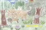 森林里的小狮子和妈妈儿童画