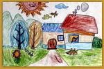 田园风光儿童画3幅
