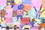 机器人世界油画棒儿童画