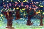 果树林儿童画作品欣赏