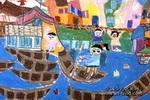 水乡小镇儿童画作品欣赏