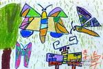 彩蝶起舞儿童画作品欣赏