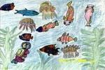 我到海底去探险儿童画3幅