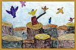 救救小鸟油画棒儿童画