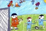 守门员油画棒儿童画