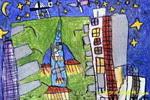 准备发射的神州五号儿童画