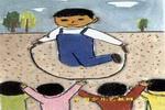 课间油画棒儿童画