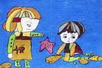 海滨油画棒儿童画