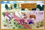 我爱幼儿园油画棒儿童画