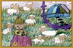 牧羊女孩油画棒儿童画