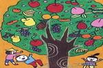 百果树油画棒儿童画