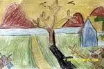初春油画棒儿童画