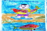 抓条大鱼儿童画作品欣赏