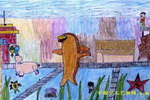 海洋馆儿童画3幅