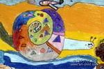 爱玩水的小蜗牛儿童画作品欣赏