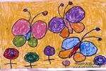花与蝴蝶儿童画2幅